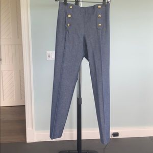blue jean trousers wig gold button accents